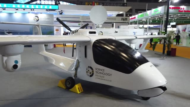 uav an amphibious uav developed by chengdu tengden technology co ltd is on display during the 2nd china international import expo at the national... - 無人航空機点の映像素材/bロール