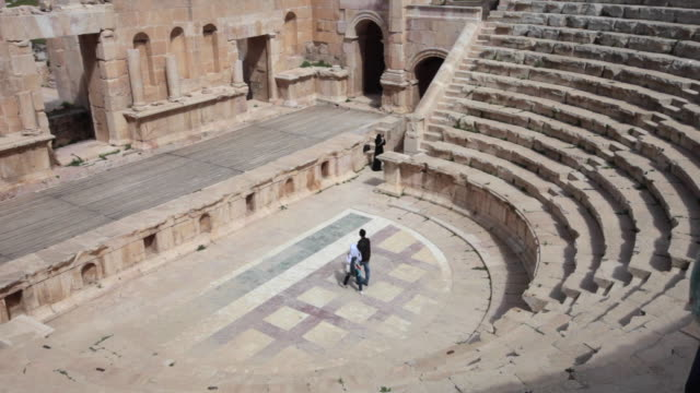 an amphitheatre in the ancient roman city of gerasa in jerash, jordan - ancient stock videos & royalty-free footage
