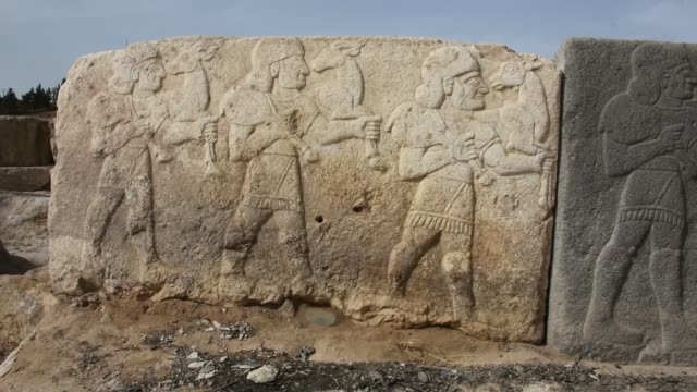 an ancient city on the turkeysyria border which was the most significant administration center of the hittites who ruled over anatolia and... - mesopotamia stock videos and b-roll footage