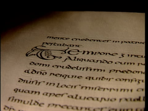 an ancient document is written in calligraphy. - kalligraphieren stock-videos und b-roll-filmmaterial
