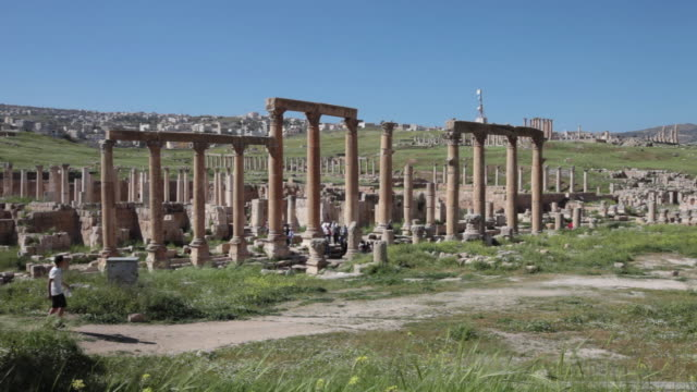 An ancient street with pillars in the ancient roman city of Gerasa in Jerash, Jordan