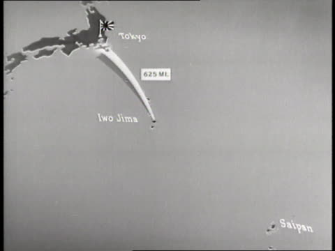 an animated map demonstrates the flight path of the us marines landing on iwo jima - battle of iwo jima stock videos and b-roll footage