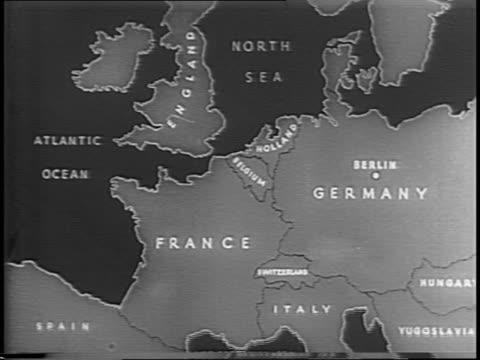 an animated map of europe / series of shots of a formation of b17 flying fortress bombers flying above the clouds / shot of a german luftwaffe /... - bombardiere video stock e b–roll