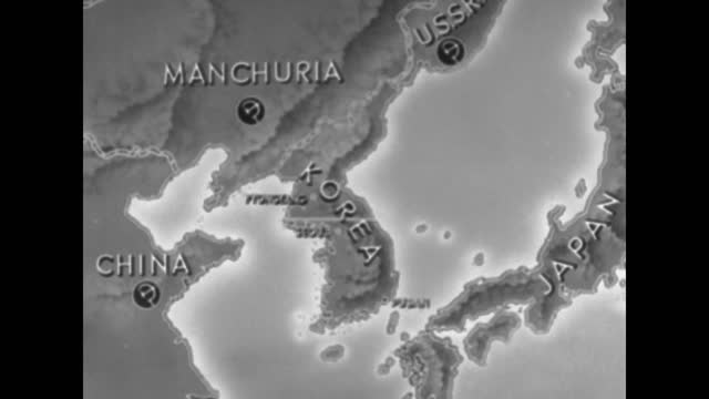 an animated map showing the korean peninsula and the border with china and the 38th parallel; the map now includes pyongyang, seoul and arrows... - manchuria region stock videos & royalty-free footage