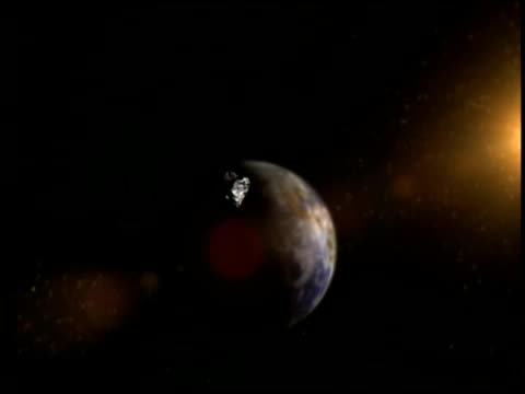 an animation shows the effects of an asteroid impacting the earth. - meteor crater stock videos & royalty-free footage