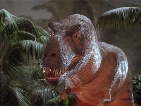 an animatronic dinosaur bares its teeth and roars. - monster fictional character stock videos & royalty-free footage