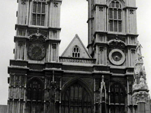 stockvideo's en b-roll-footage met an annexe and glass canopy have been built next to westminster abbey in preparation for the coronation celebrations 1953 - westminster abbey