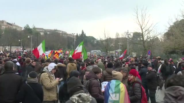 An anti fascist demonstration takes place in Italy one week after a suspected racist attacker shot and wounded six migrants