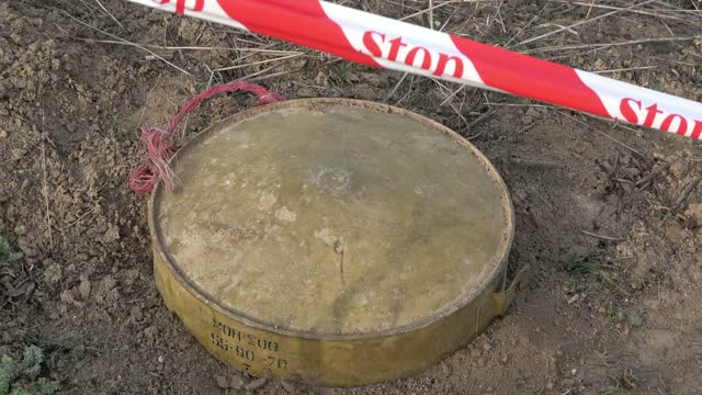 an anti tank mine found and marked in a minefield near the town of agdam that was captured and destroyed by ethnic armenian forces in 1993, during... - 14 15 years stock videos & royalty-free footage
