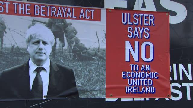 an anti-boris johnson poster in northern ireland - information medium stock videos & royalty-free footage