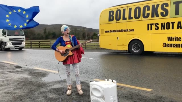 an anti-brexit bus visits dublin before crossing the border into northern ireland. activist madeleina kay poses for photographs dressed as eu... - northern ireland stock videos & royalty-free footage