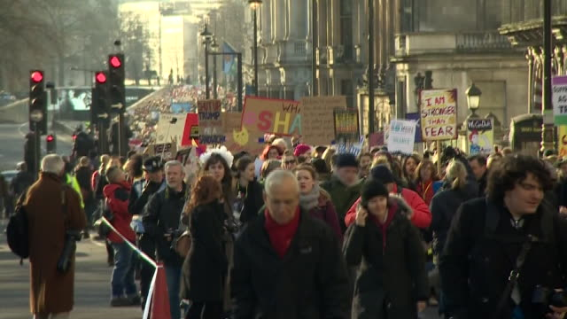 An antiDonald Trump 'Women's rights' march moving through London
