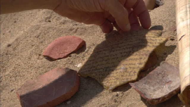 An archaeologist examines broken pieces of pottery and other artifacts.