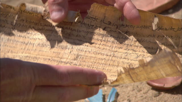 an archaeologist opens an ancient papyrus scroll in berenike, egypt. - position stock-videos und b-roll-filmmaterial