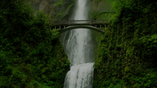 an arched bridge spans multnomah falls in the columbia river gorge. - columbia river gorge stock videos & royalty-free footage