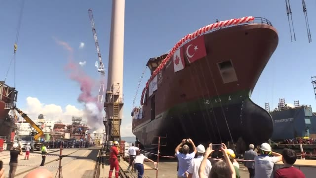 "an arctic fishing vessel produced by turkey for canada was launched in an aegean shipyard on july 16, 2019. the ship called ""calvert"" was produced... - turkey middle east stock videos & royalty-free footage"