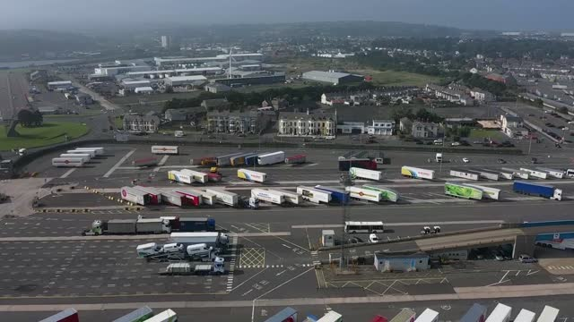an ariel view of larne harbour which is one of the main entry points between northern ireland and the rest of the united kingdom on september 7, 2021... - resting stock videos & royalty-free footage