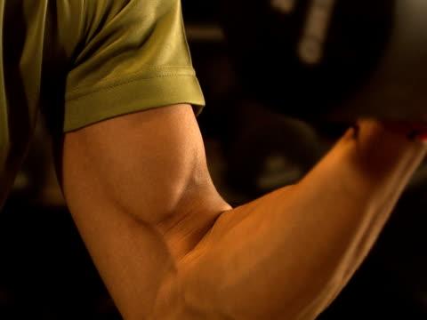 vídeos de stock, filmes e b-roll de an arm weight lifting close-up. - braço humano