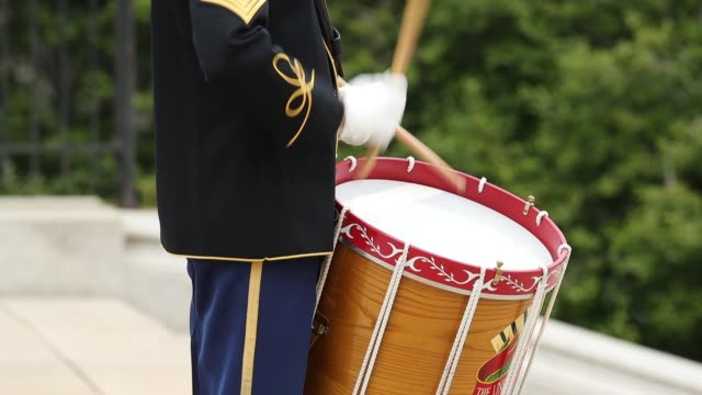 an army drummer plays a marching rhythm as soldiers airmen marines and sailors prepare for the arrival of australian prime minister malcolm turnbull... - rhythm stock videos and b-roll footage