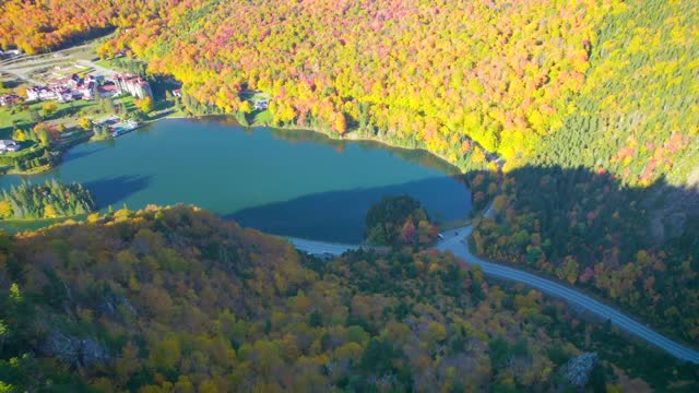 an array of fall colors produced a beautiful autumnal scene in dixville hotch, new hampshire, as a drone captured the setting from the air. for this... - https stock-videos und b-roll-filmmaterial
