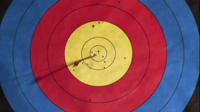 an arrow pierces the center of a target. - bull's eye stock videos and b-roll footage