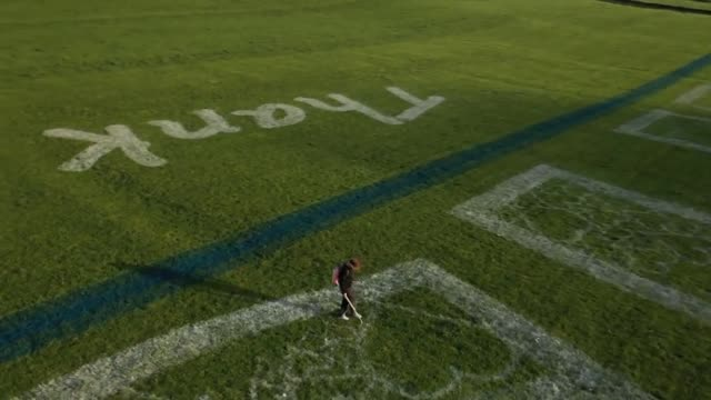 an artist has created a huge tribute to the heroes of the nhs in a west yorkshire field the 100mwide nhs logo filled with hearts and signed off with... - thank you englischer satz stock-videos und b-roll-filmmaterial