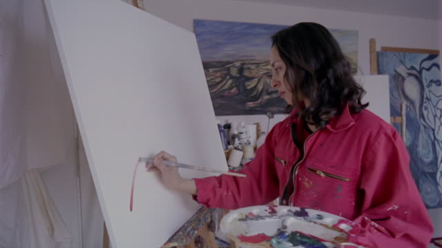 stockvideo's en b-roll-footage met an artist holding a palette begins painting on a blank canvas. - canvas