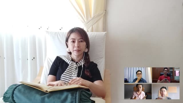 an asia chinese woman giving a online conference talk to her colleague. a team of asia colleague having video conference call during corona covid-19 crisis. all people listening in video conference. - composite image stock videos & royalty-free footage