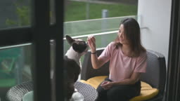 an asian chinese beautiful woman pet owner giving training to her french bulldog at balcony with treat