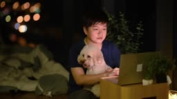 an asian chinese mid adult surfing the net using laptop at night in the apartment near the window with cityscape view  with toy poodle pet dog