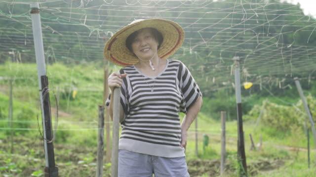 vidéos et rushes de un adulte chinois asiatique aîné travaillant dans la ferme pour leur temps de retraite passer à sa cour arrière de sa maison - malaisie