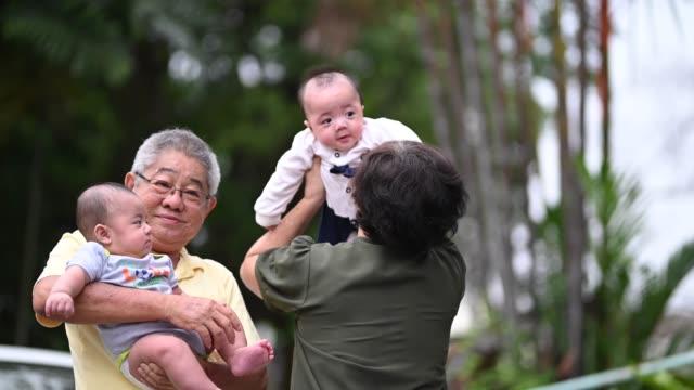 vídeos de stock, filmes e b-roll de um casal asiático chinês sênior brincando com seu neto no quintal da frente de sua casa - etnia oriental