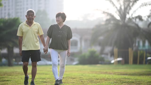 an asian chinese senior couple workout at the public park in their neighborhood - early morning exercise stock videos & royalty-free footage