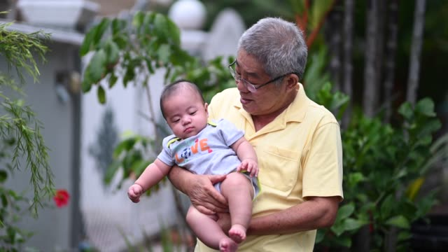 an asian chinese senior man grandfather carrying his babyboy grandson at the front yard of their house - babyhood stock videos & royalty-free footage