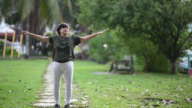 アジアの中国人の先輩女性が近所の公共公園でトレーニングをする - 準備運動点の映像素材/bロール