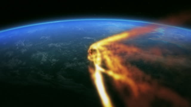 an asteroid impacts earth in a computer-generated animation. - digital animation stock videos & royalty-free footage