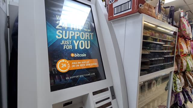 an atm machine for digital currency bitcoin with it sales suspended at a supermarket in london on november 25, 2020 in london, england. - blockchain stock videos & royalty-free footage