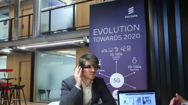 An attendee wears a Ubimax GmbH augmented reality headset as Ericsson AB opens their 5G mobile data service and Internet of Things Corda Campus in...