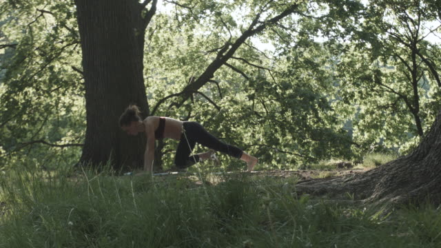 an attractive, young woman performs yoga, alone in nature - 4k - slow motion - cura della persona video stock e b–roll
