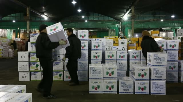 vídeos de stock, filmes e b-roll de an auctioneer calls out prices during a vegetable auction at garak market operated by seoul agrofisheries food corp in seoul south korea on wednesday... - moving activity