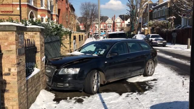 An Audi A6 has collided with a wall in Clapham South West London