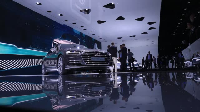 An Audi A8L Quattro automobile stands on display during the Volkswagen AG media night ahead of the IAA Frankfurt Motor Show in Frankfurt Germany on...
