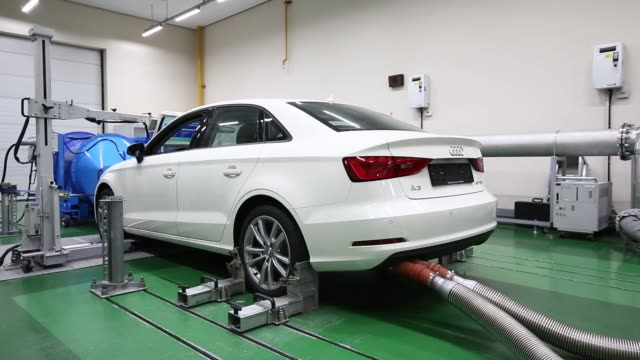 An Audi AG A3 35 TDI emissions certification vehicle produced by Volkswagen AG waits to be tested inside the Transportation Pollution Research Center...
