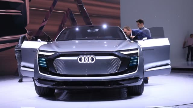 An Audi AG Elaine electric concept autonomous automobile stands during its unveiling at the Volkswagen AG media night ahead of the IAA Frankfurt...