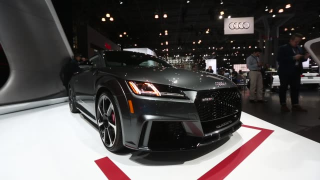 An Audi AG TT RS coupe vehicle sits on display during the 2017 New York International Auto Show in New York US on Thursday April 13 2017 Shots...