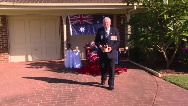 an australian veteran prepares for anzac day outside his home in sydney's south as memorials will be held in isolation due to coronavirus... - anzac day stock videos & royalty-free footage