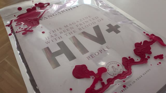 an austrian men's magazine has printed its latest edition using blood from people who are hiv-positive in order to counter the stigma often attached... - retrovirus video stock e b–roll