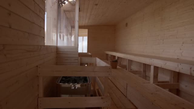 an authentic finnish sauna opens its door at the southbank centre, with a rooftop location offering stunning views of the river thames. interview... - sauna stock videos & royalty-free footage