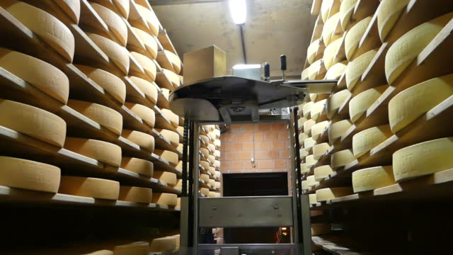 an automated system places rounds of cheese on shelves in a cellar. - käse stock-videos und b-roll-filmmaterial