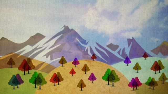 an autumn view is a painting like living picture. - stop motion animation stock videos & royalty-free footage